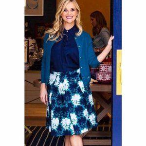 Draper James McKenzie Mid Length Floral Blue Skirt